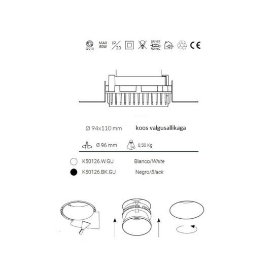 süvisvalgusti kohl-sat-round-k50126