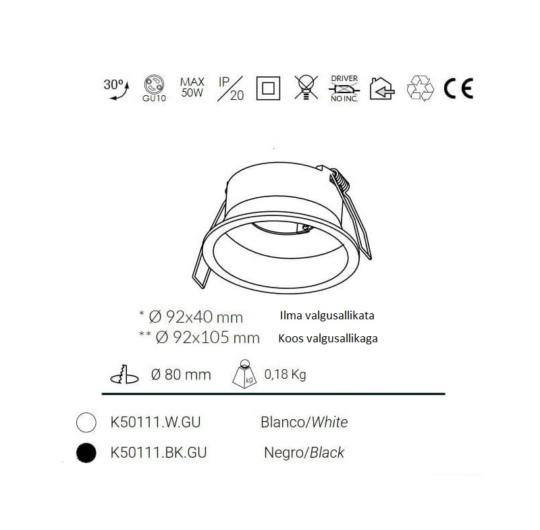 Süvisvalgusti kohl venus k50111