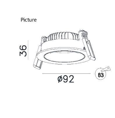 Niiskuskindel süvisvalgusti D0029.08, 8W/670lm LED, IP44