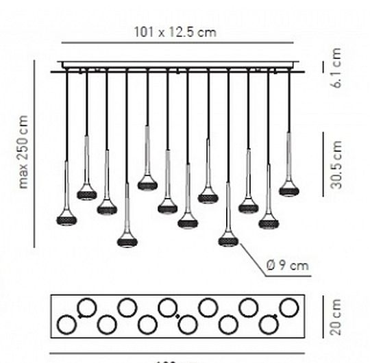 Rippvalgusti Fairy 12, 12x6,8W LED