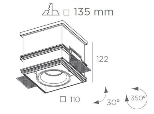 Süvisvalgusti Cube, ääreta