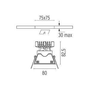 Niiskuskindel süvisvalgusti Easy Kap 80 square, 9,2W LED, IP44