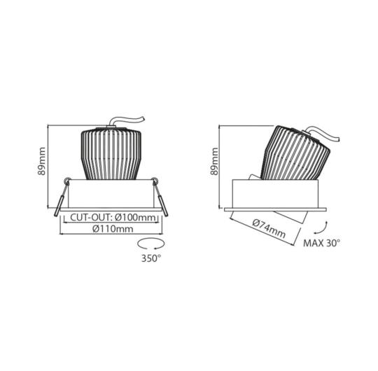 Süvisvalgusti Corsa Lente, 9W/720lm, 3000K, IP43