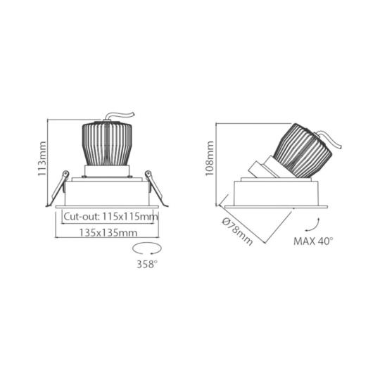 Süvisvalgusti Forte, 12,5W/1350lm, 3000K, IP43