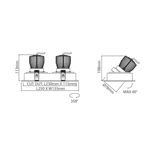 Süvisvalgusti Valore, 2x12,5W/1350lm, 3000K, IP43
