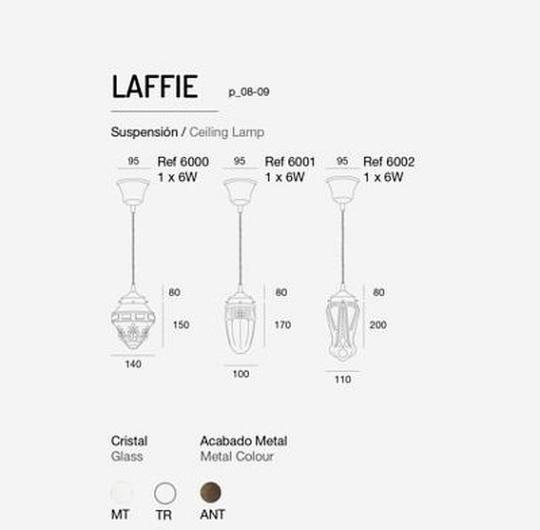 Rippvalgusti Laffie, 6W E27