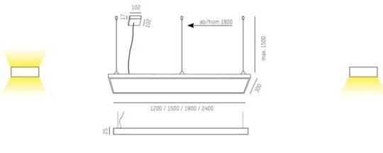 Rippvalgusti Cadan Nova L PDI, 65W/6458lm, 3000K