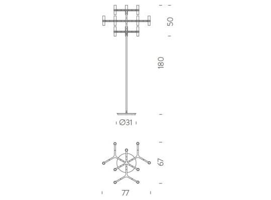 Põrandavalgusti Crown, 12x25W G9
