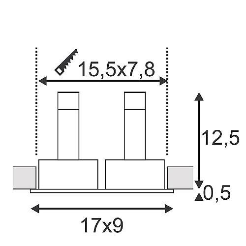 Süvisvalgusti New Tria2, 2x50W GU10