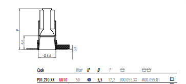 Süvisvalgusti POP P01, 50W GU10
