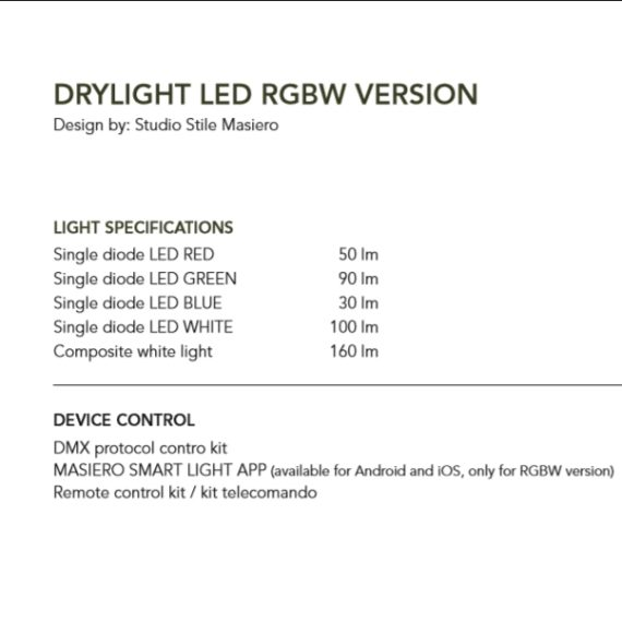 Masiero Drylight led data sheet